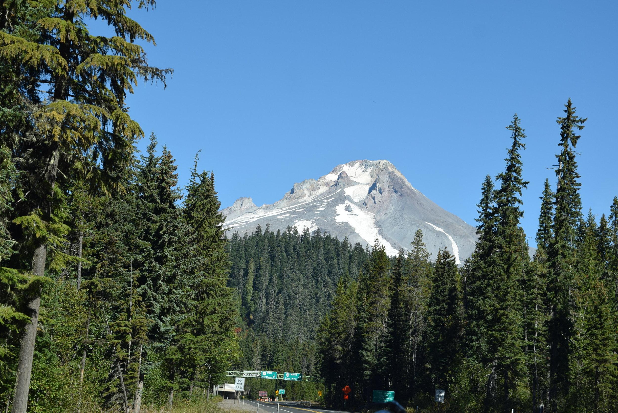 A peek of Mt. Hood on our way to Portland.