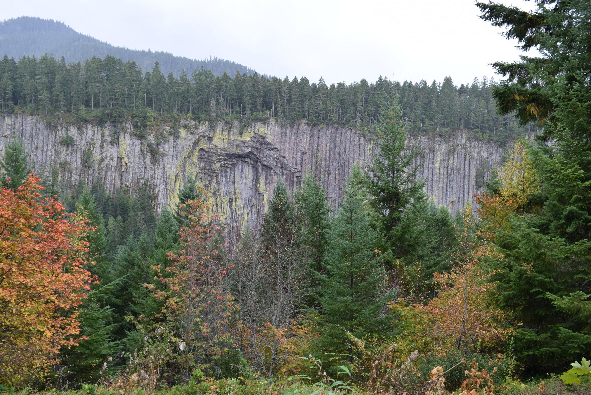 Evidence of past volcanic activity near Mount Rainier.