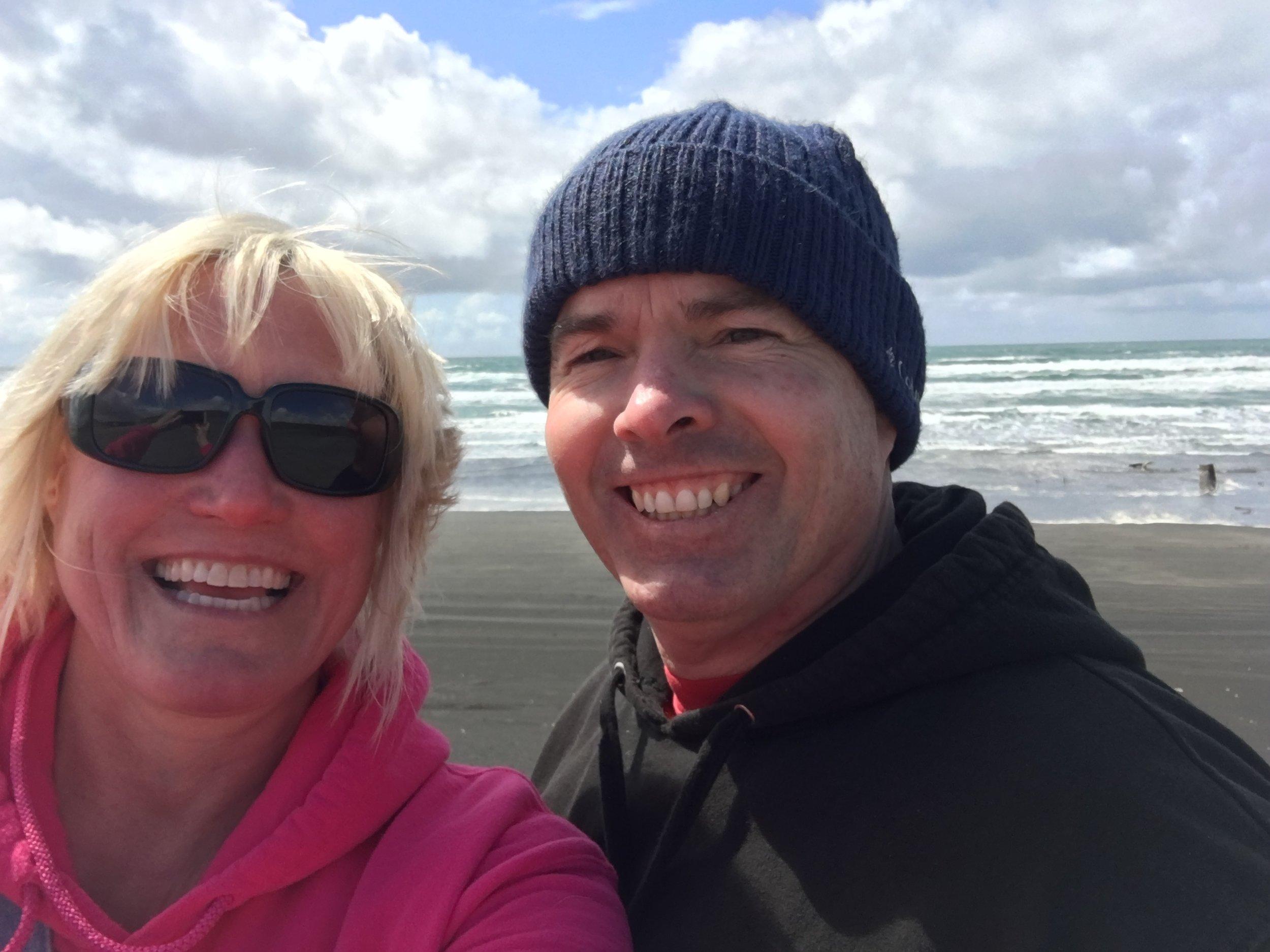 Beach selfie at Shipwreck Beach, Fort Stevens State Park.