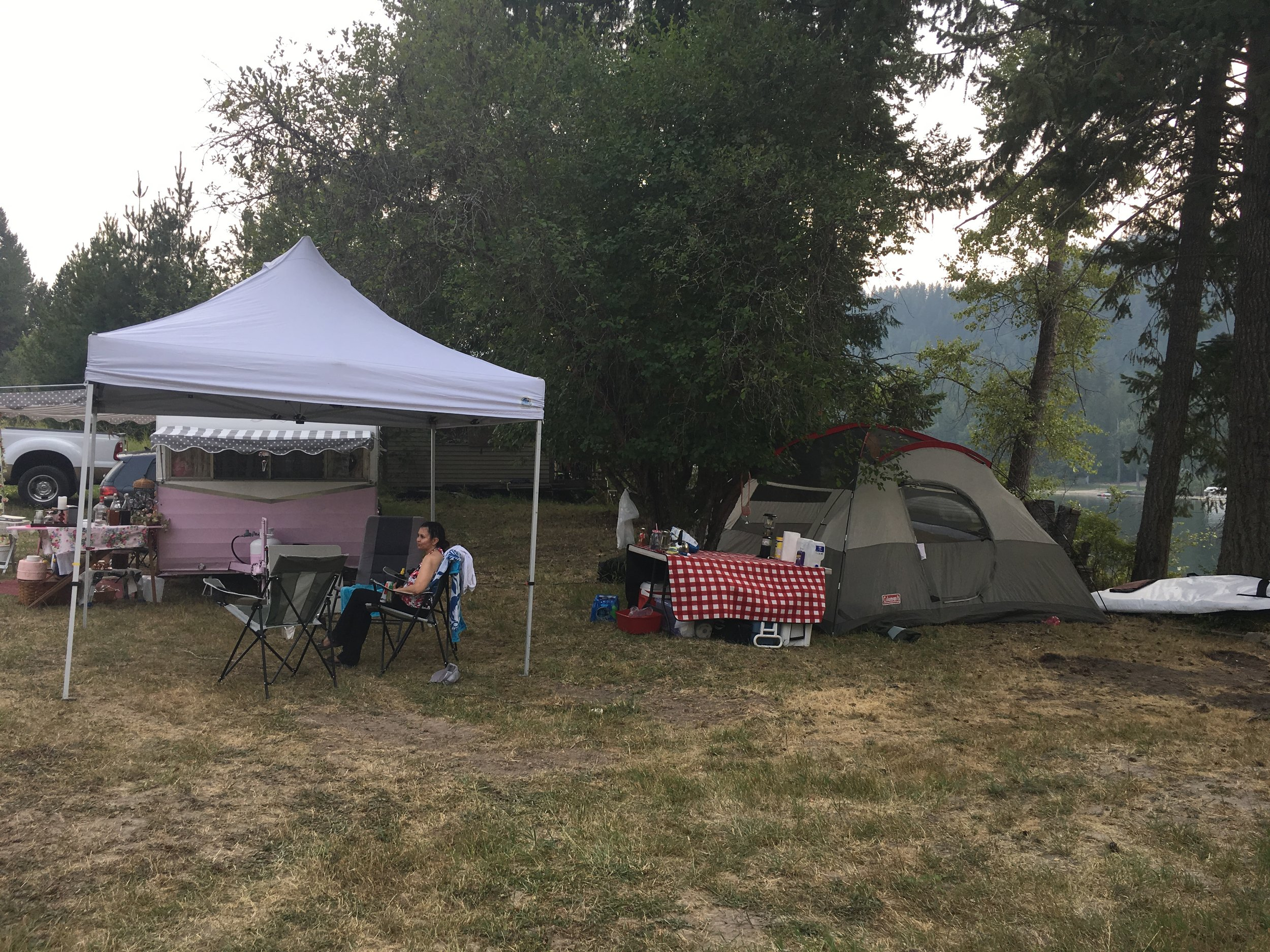 My friend Cindy hosted an all girls camping weekend. Since we sold the camper, I had to kick it old school with a tent. My friend Patrizia shared it with me. It was her first time camping. We had so many laughs!