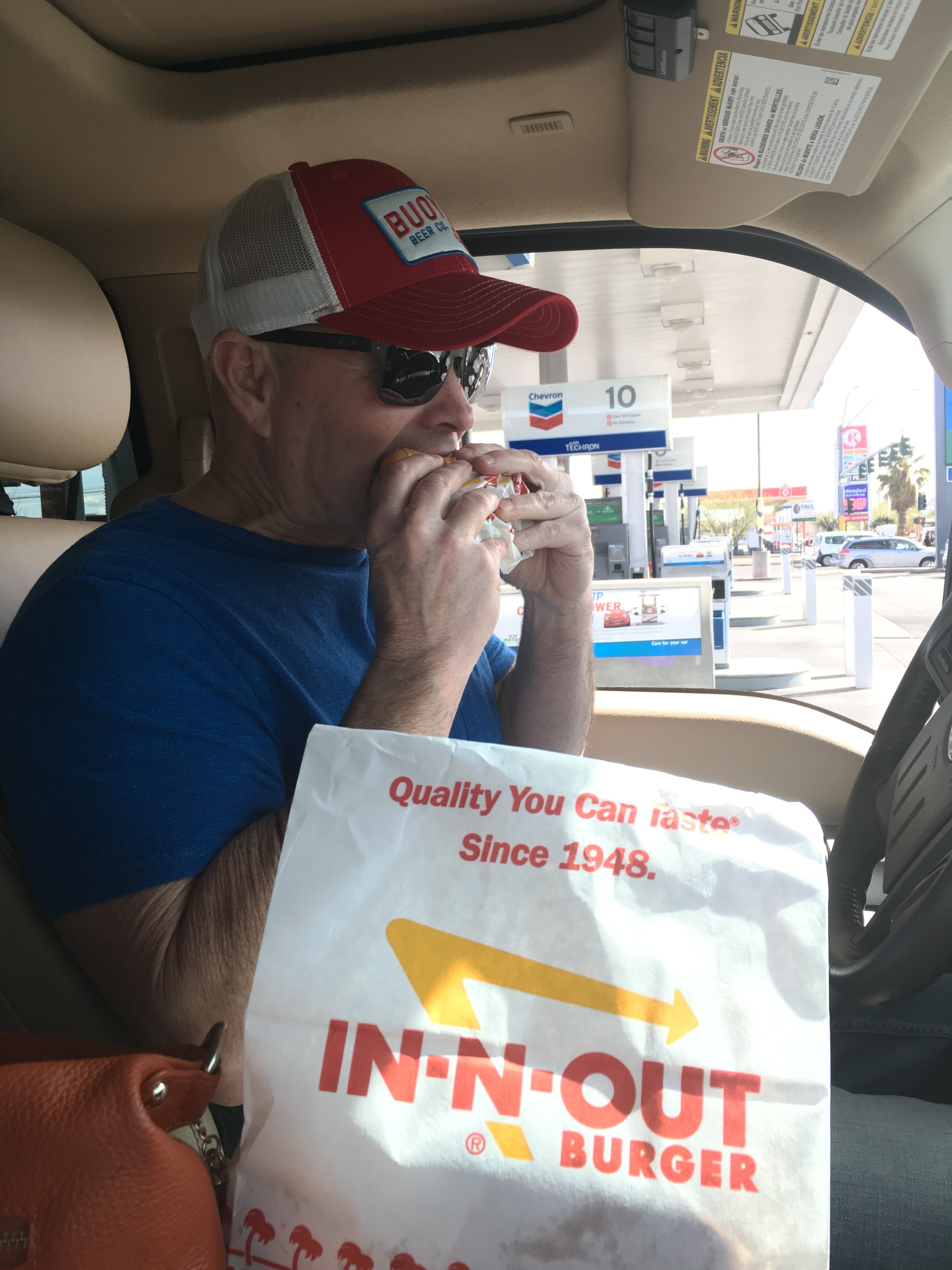 First stop in Vegas! That was his first In and Out burger since we left So Cal. 3 1/2 years ago!