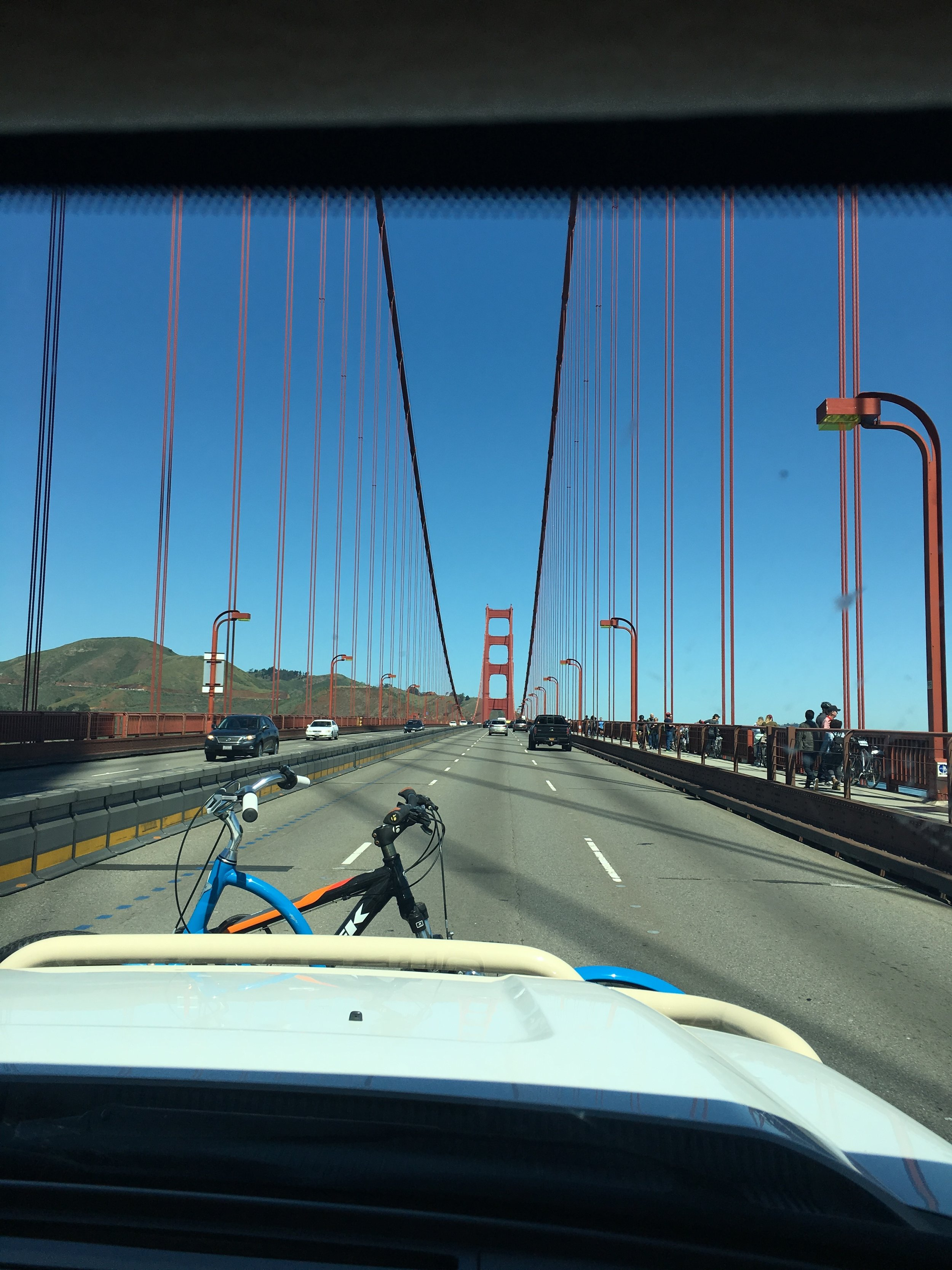 Going over the Golden Gate Bridge. San Francisco traffic was crazy, as usual. No thank you!