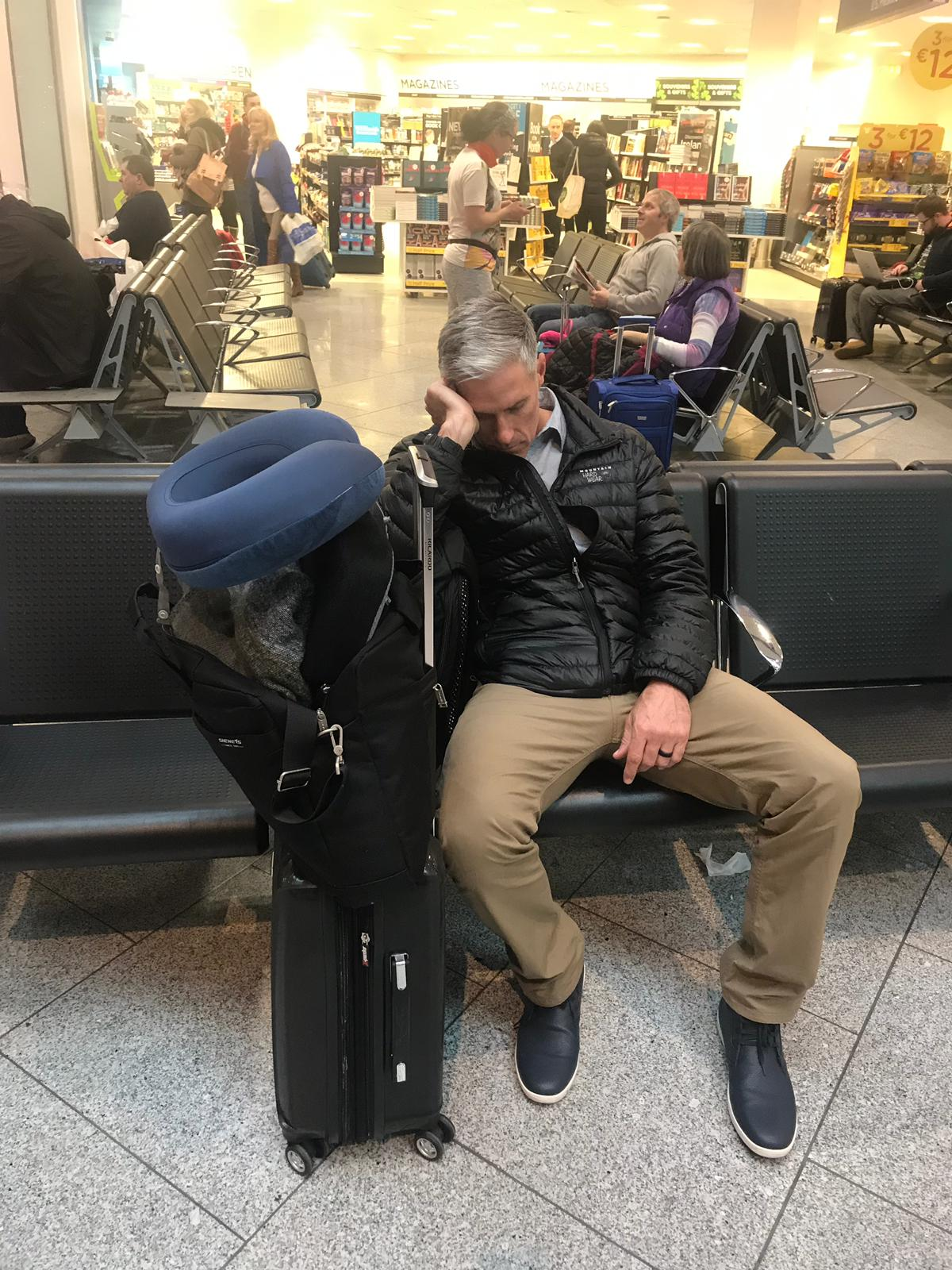 Mike taking a little snooze in the Dublin airport.