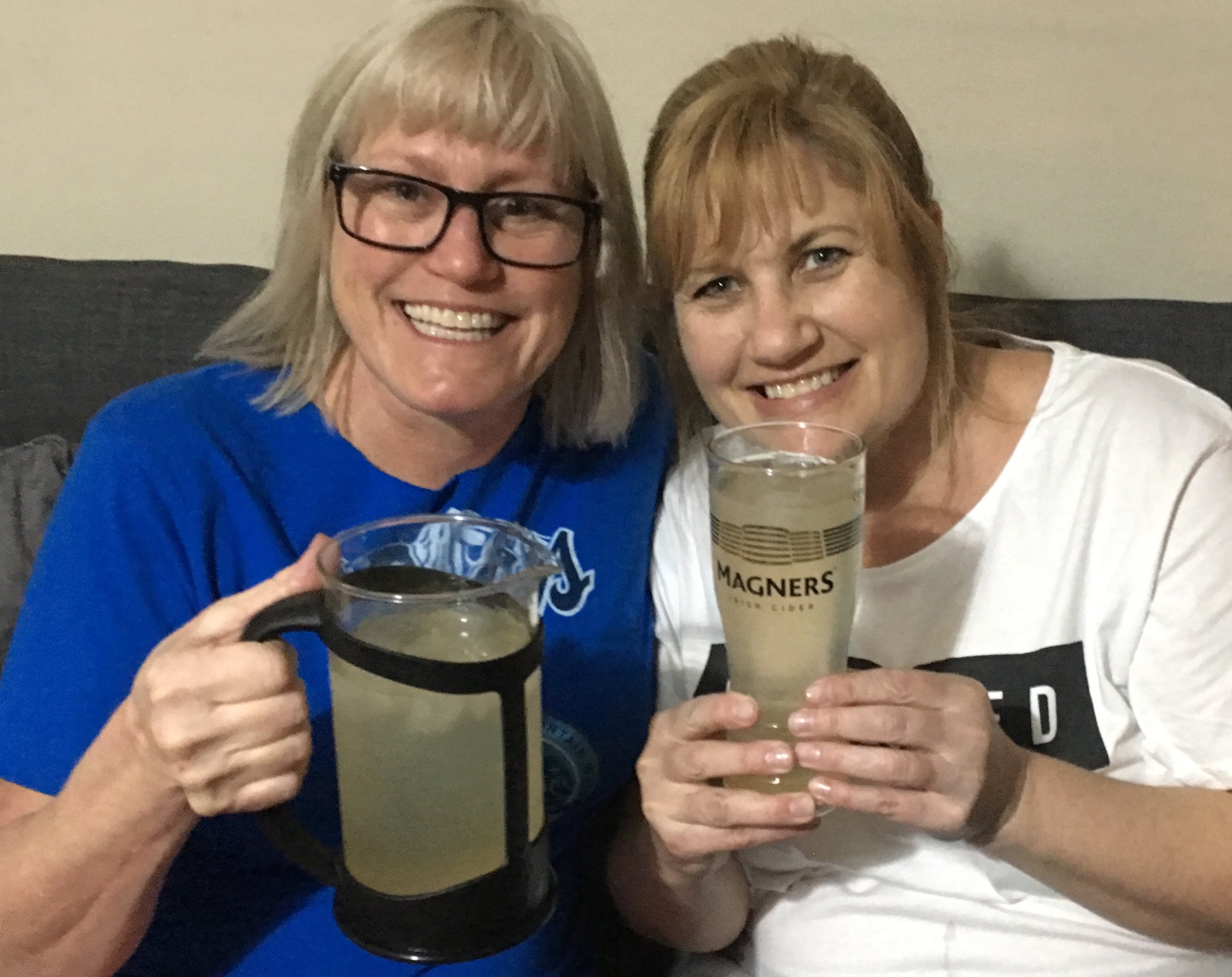 Cherilyn thought she was picking the largest glass until I found the coffee press container! We were sipping on gin and juice in our jammies. Hers freshly bought since her luggage was lost.