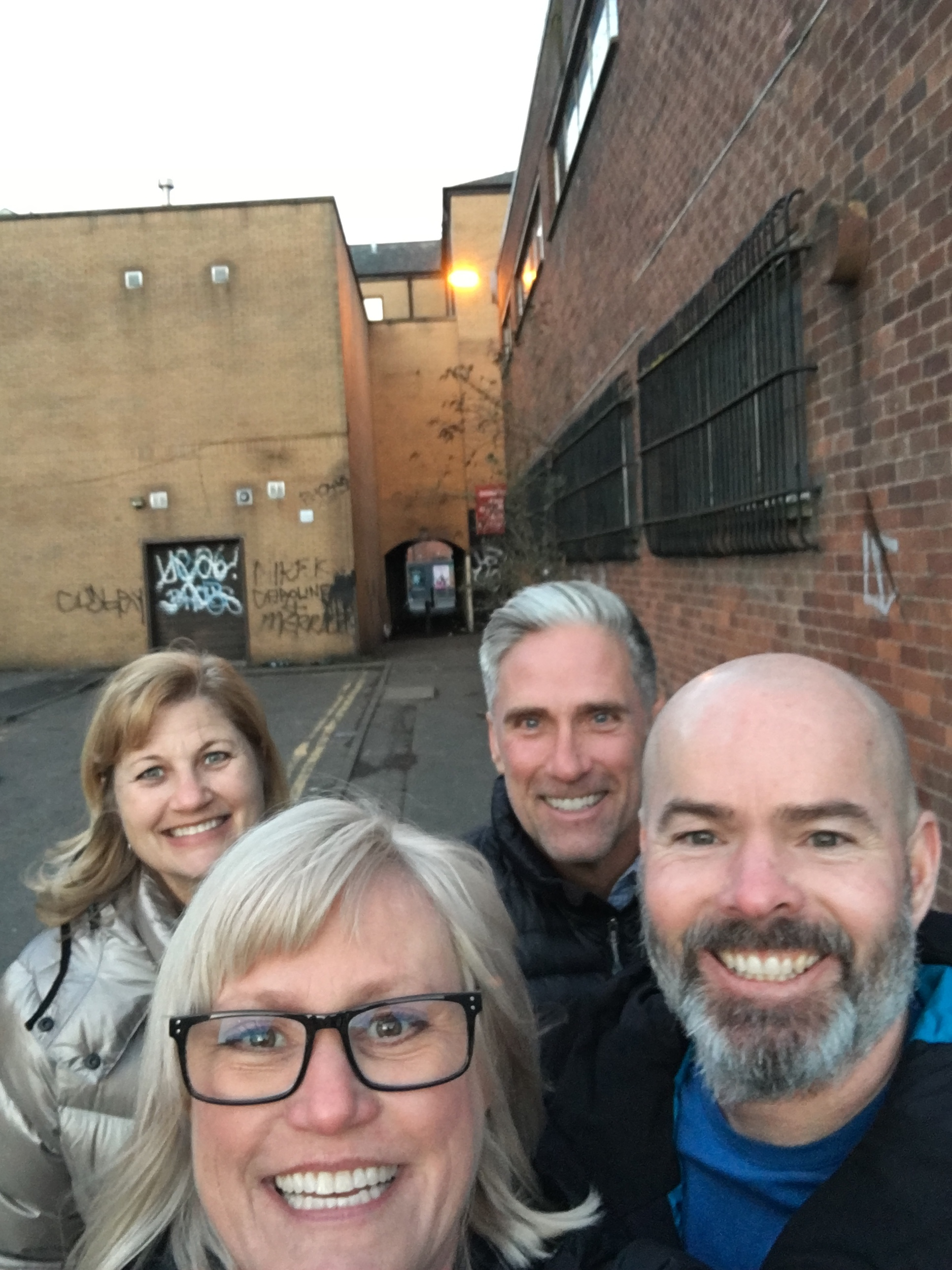 Taking a shortcut through what we called the alley of death in Glasgow. We lived to tell the tale!