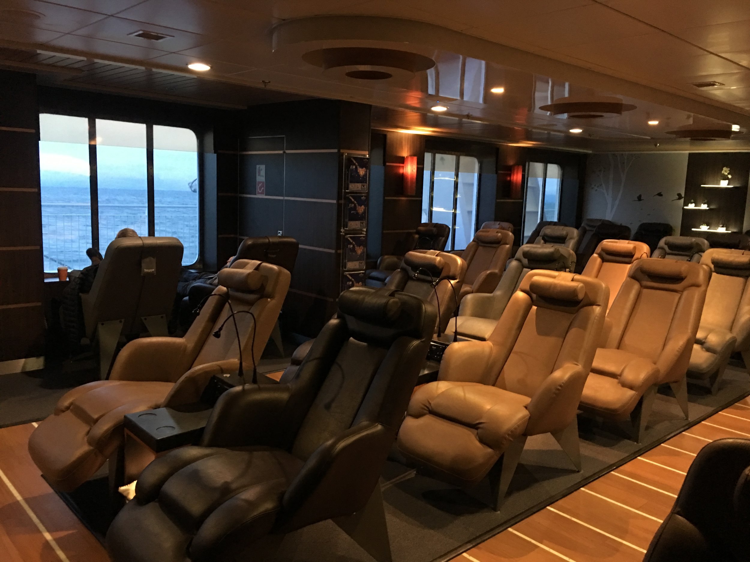 We upgraded to the reclining lounge. The ship had plenty of great seating but this was a special bonus!