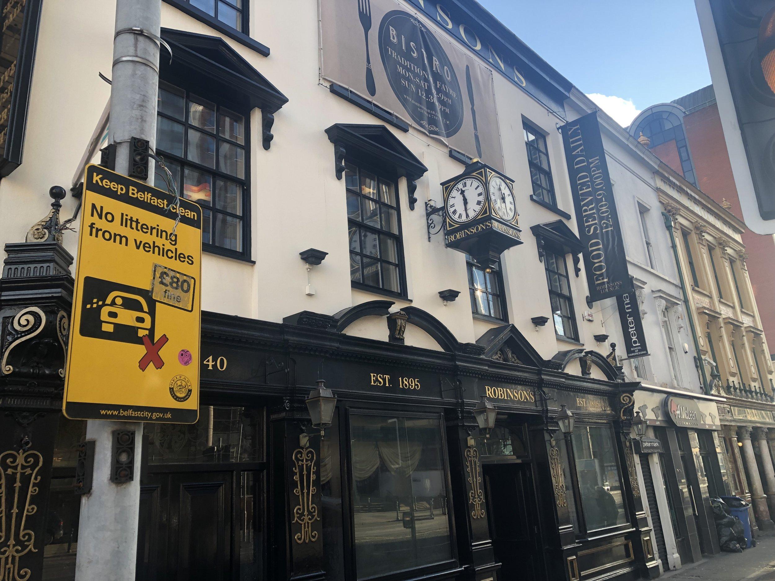 We basically pub crawled through Belfast, Northern Ireland.
