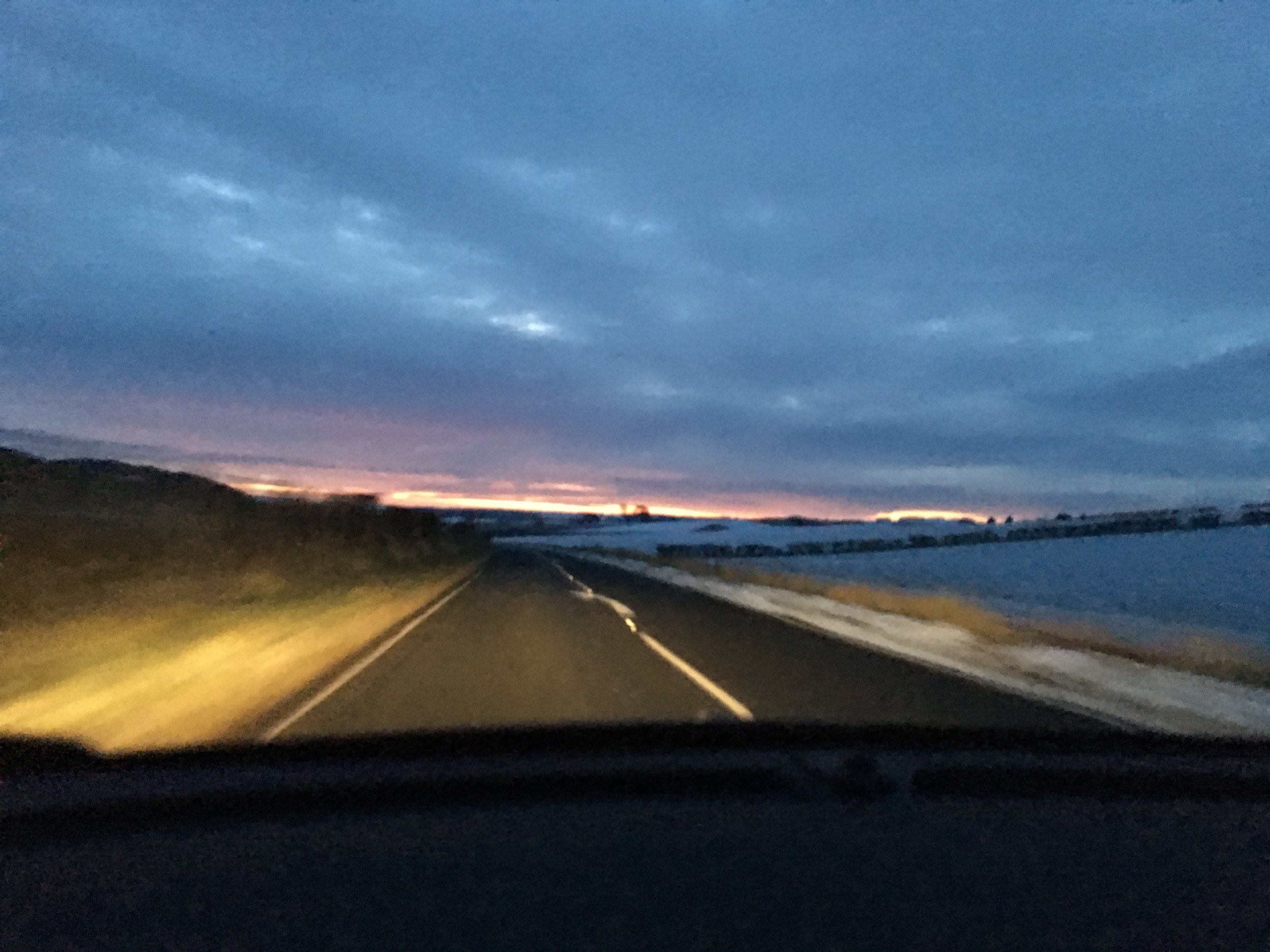 Sunrise drive to St Andrew. Mike had a surfing date with a US expat and some Scottish firemen.
