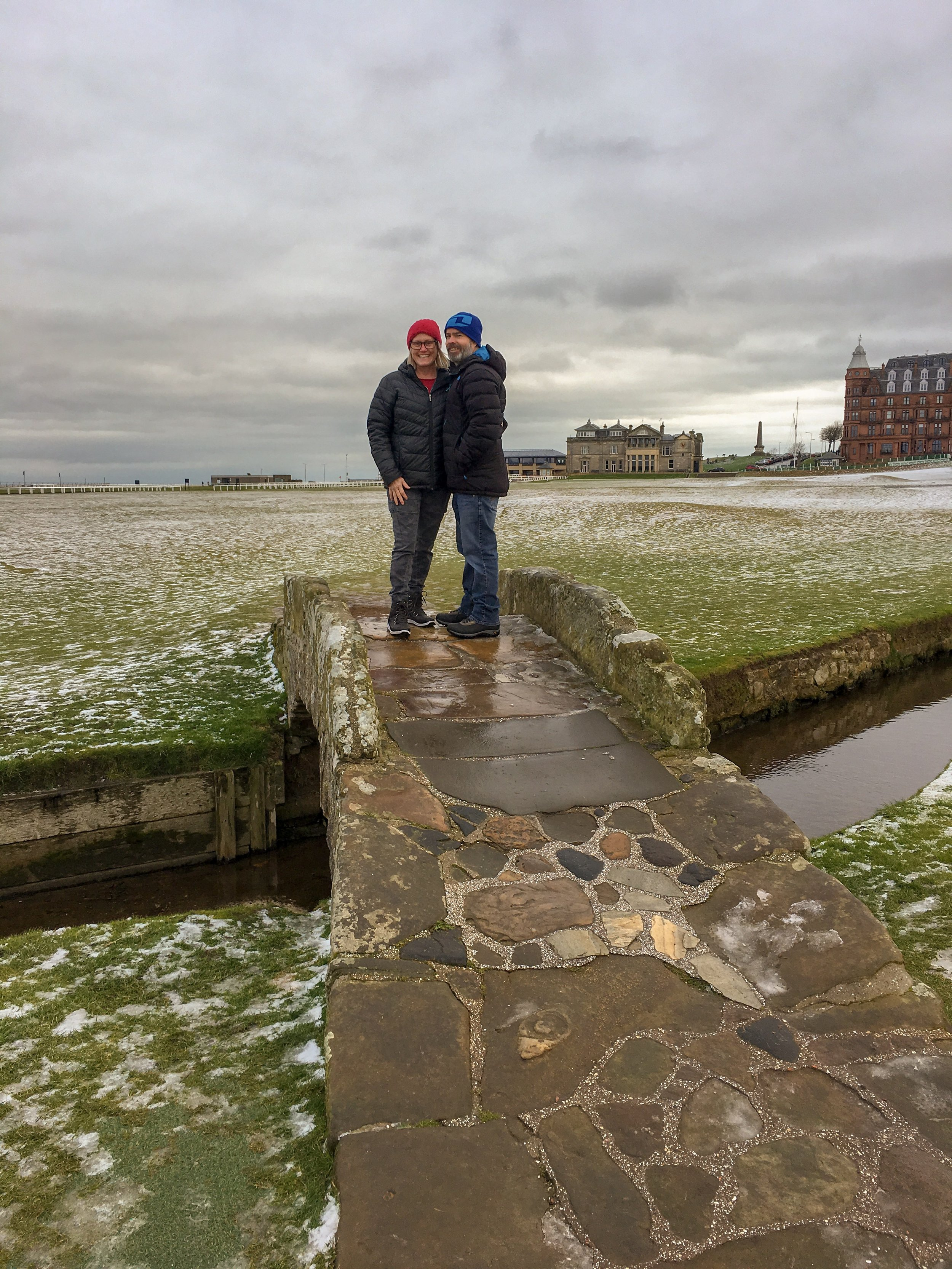 On a wee bridge at the Royal and Ancient Golf Club of St. Andrews.