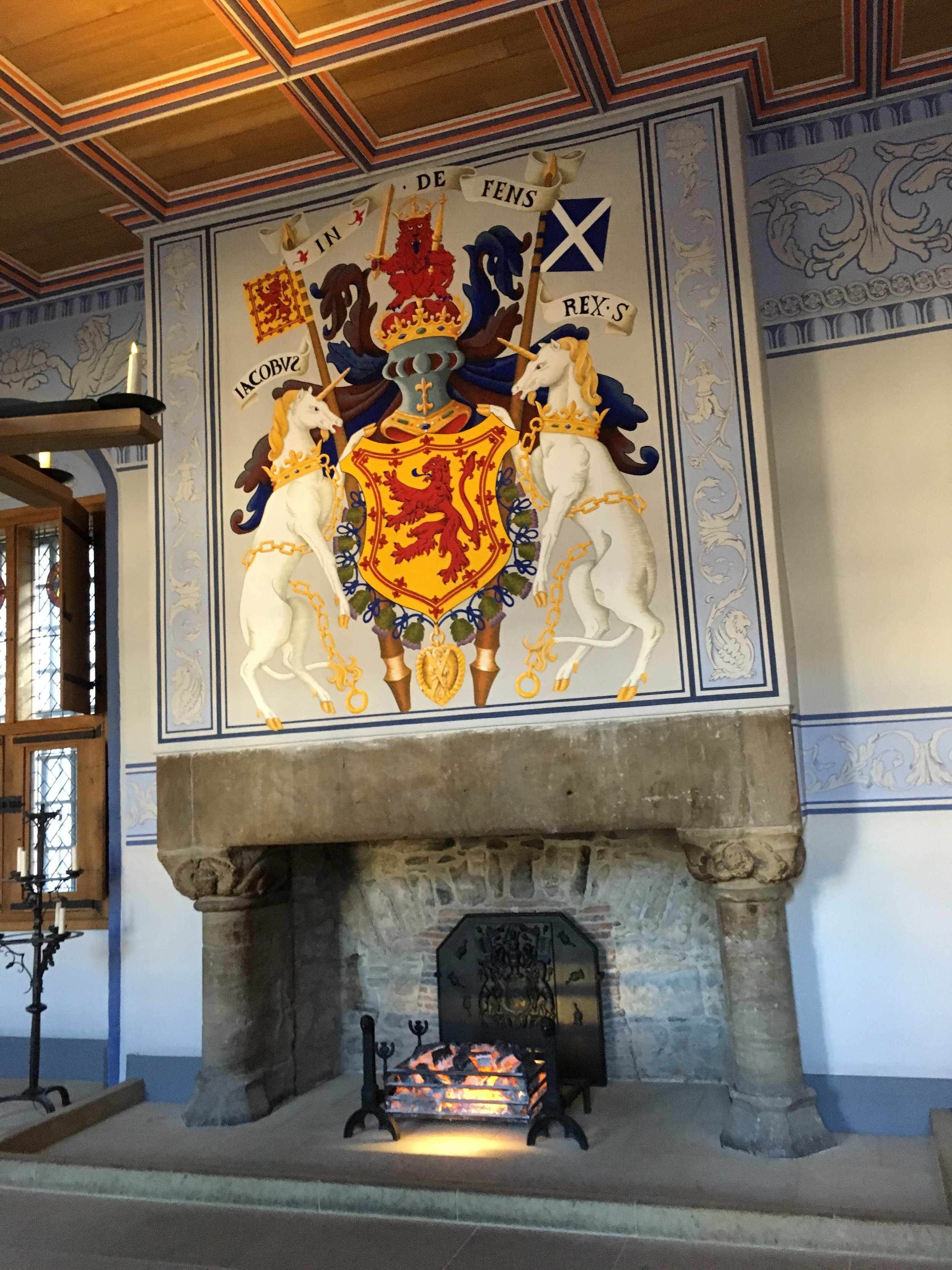 Inside Stirling Castle. I learned that the Unicorn is a symbol of Scotland.