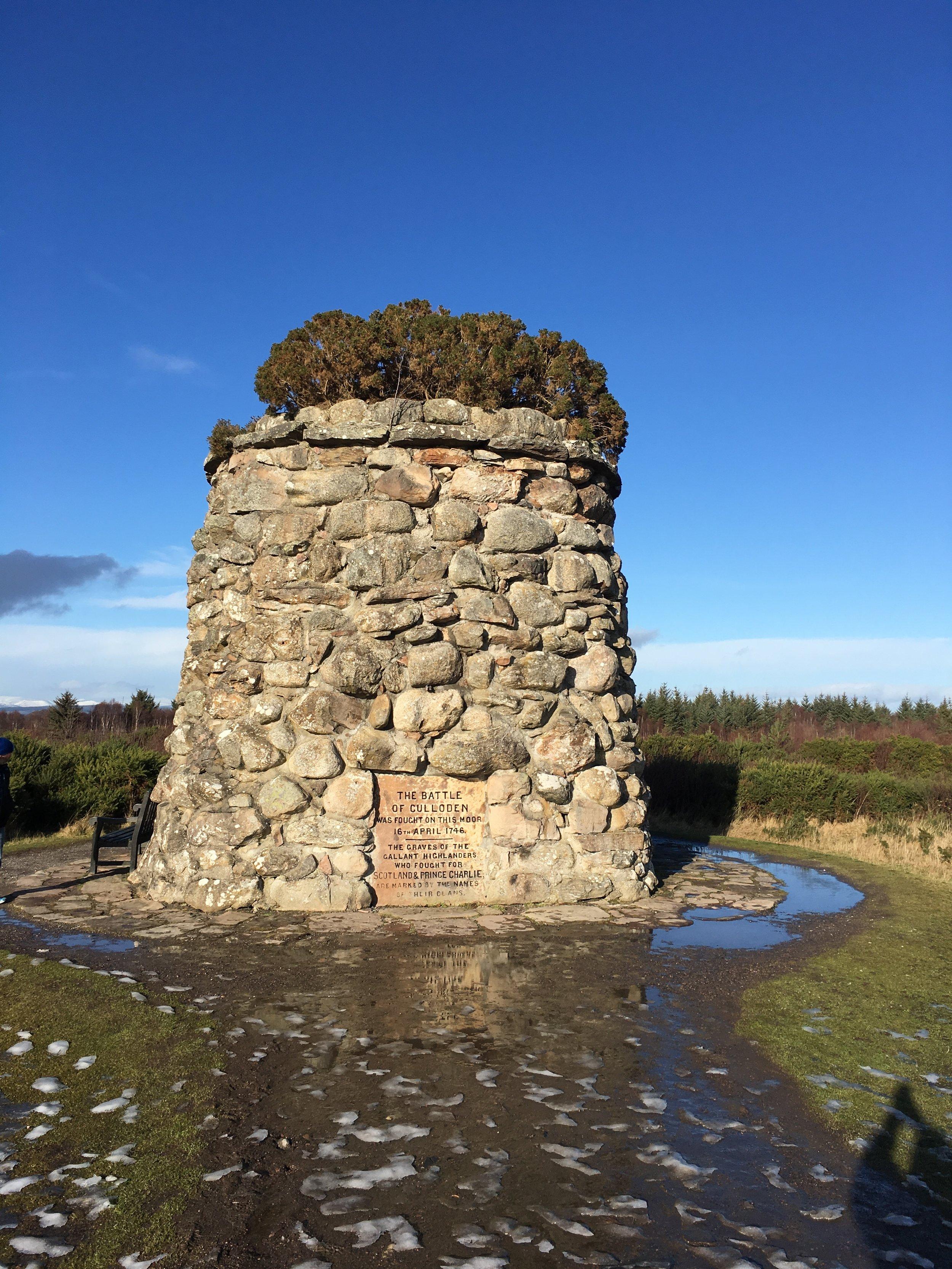 A memorial cairn at the battlefield.