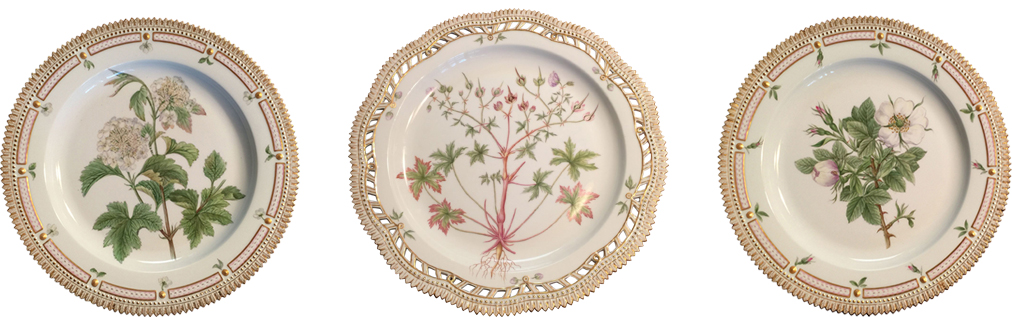 "Danish Porcelain ""Flora Danica"" Botanical Serving Plate, Royal Copenhagen, 20th century; Danish Porcelain ""Flora Danica"" Botanical Pierced Large Dish, Royal Copenhagen, 20th century; Danish Porcelain ""Flora Danica"" Botanical Serving Plate, Royal Copenhagen, 20th century"