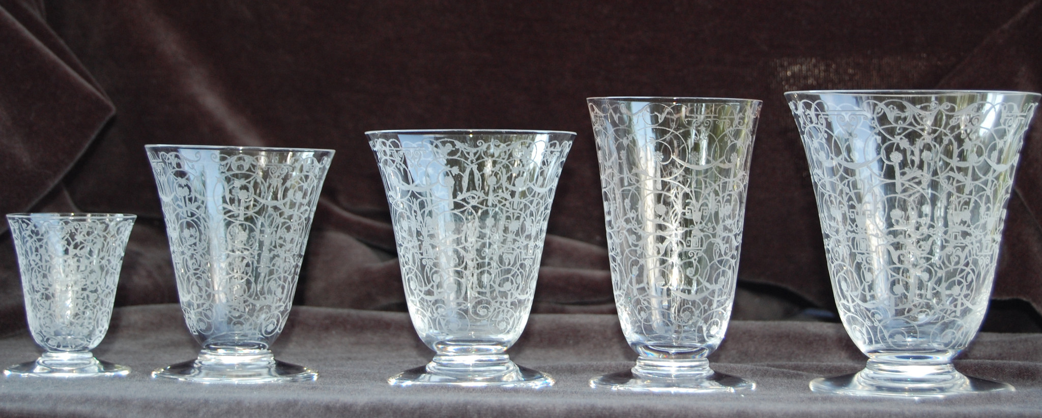 "French Etched Clear Glass Decanter and Barware Service, Baccarat, France, 1927-1970, 41 pieces in the ""Michaelangelo"" pattern"