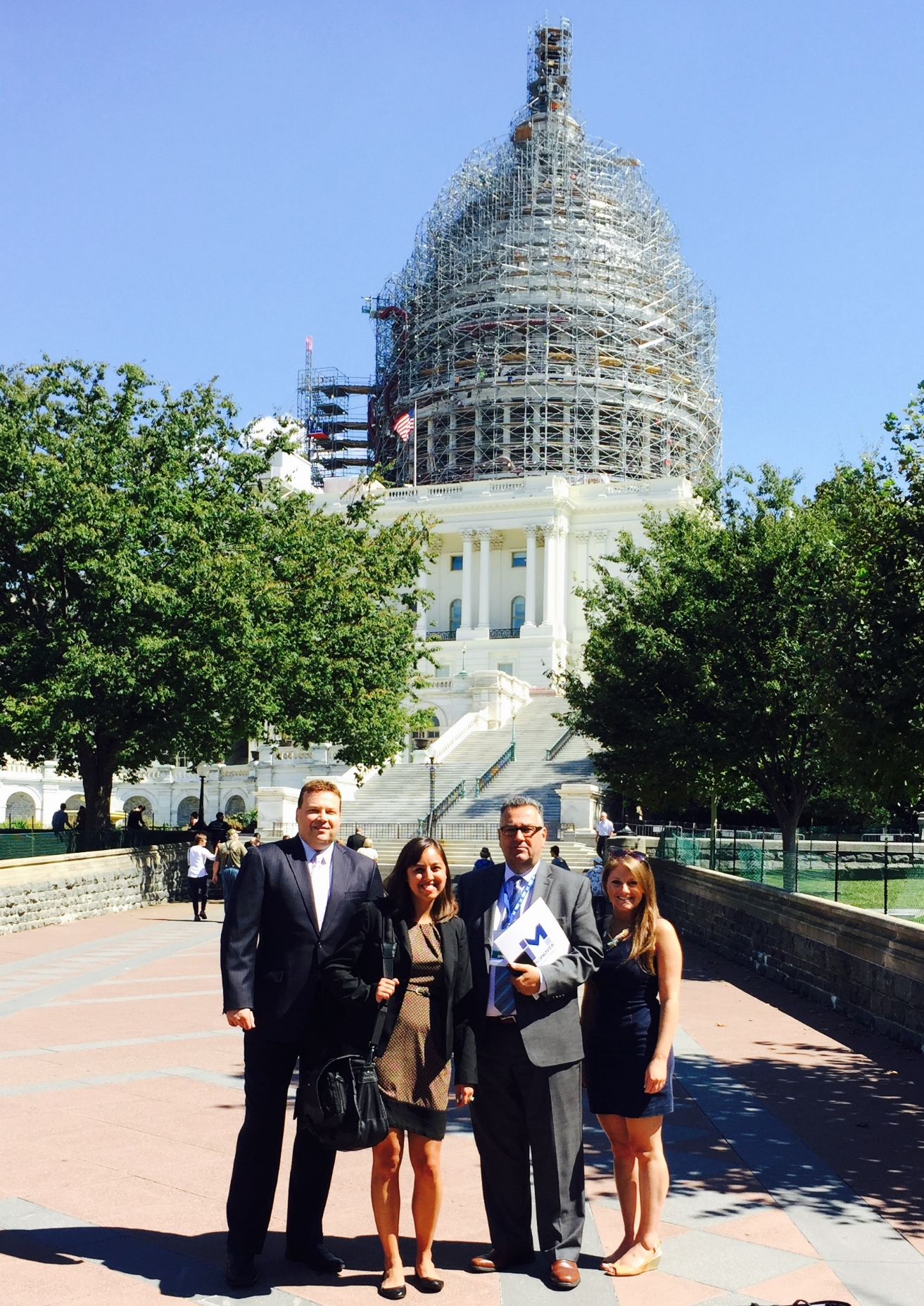 From left to right: Updater's Mike Clarner; Rachael Fischer from our client, Olympia Moving & Storage; Eric Scorzelli from Victory Packaging; Updater's Jenna Weinerman lobby on Capitol Hill.