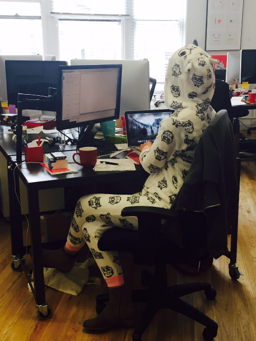 Working in a onesie... NBD.