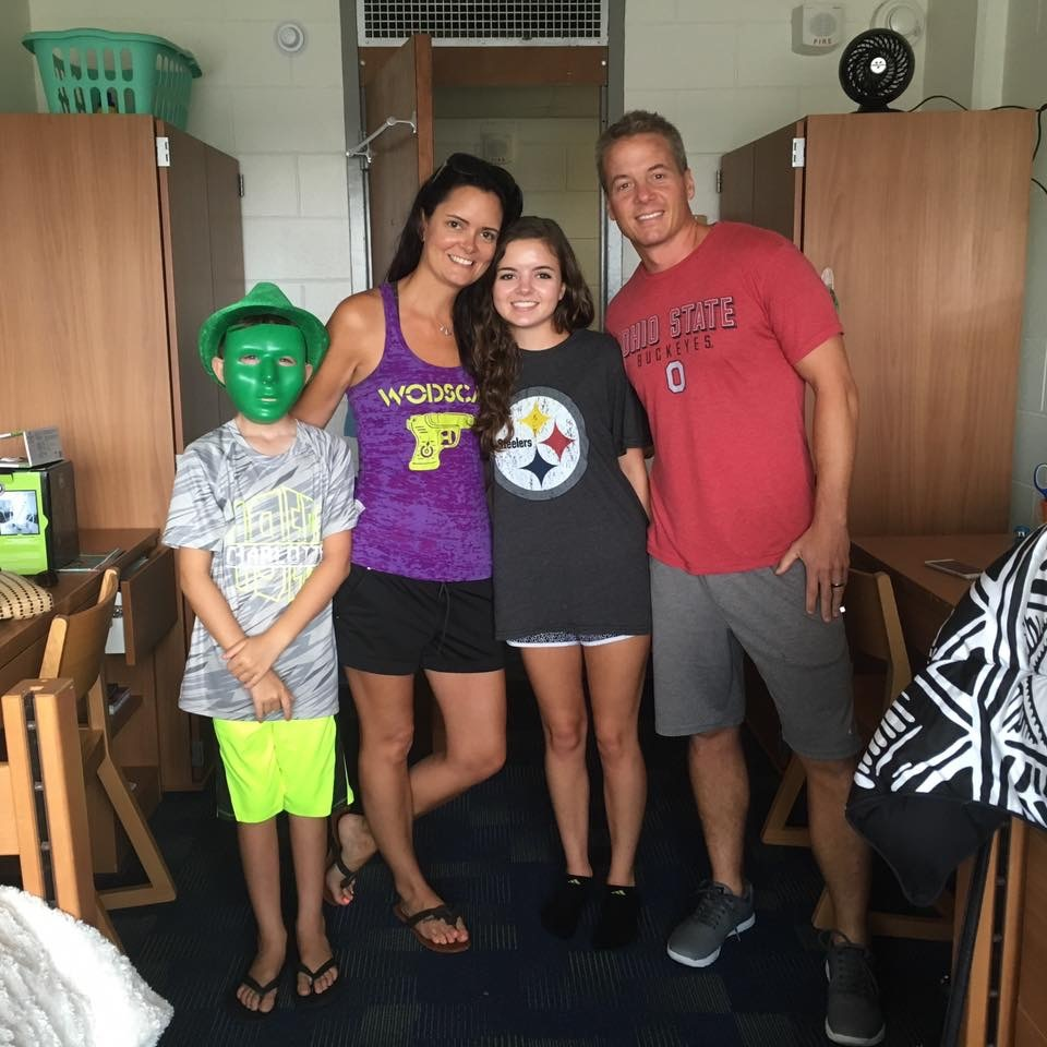 Ash (far right) with son, JC (nice mask/hat combo!), wife Kathy, and daughter, Hannah.