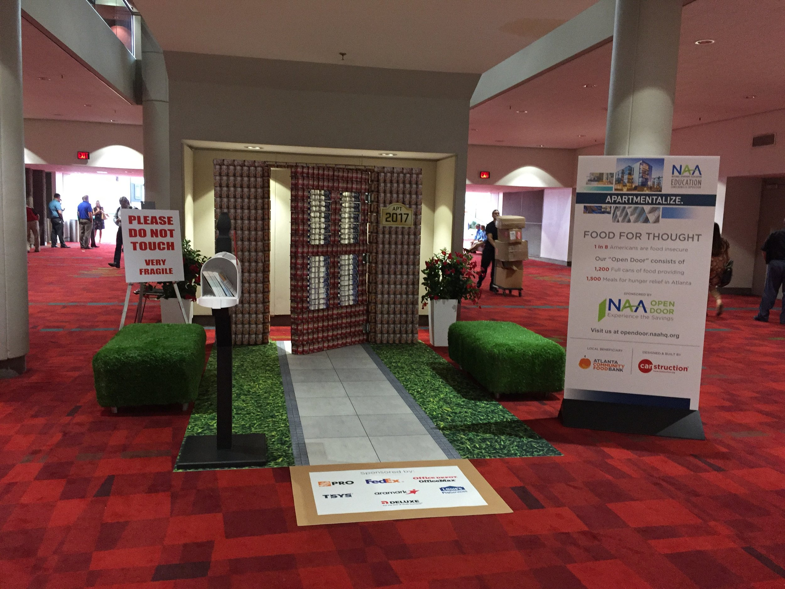 """""""Canstruction"""" – this art display made entirely out of 1,200 full cans of food was donated to the Atlanta Community Food Bank"""