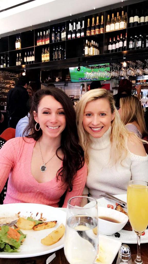 laura eating at a restaurant -meet updater