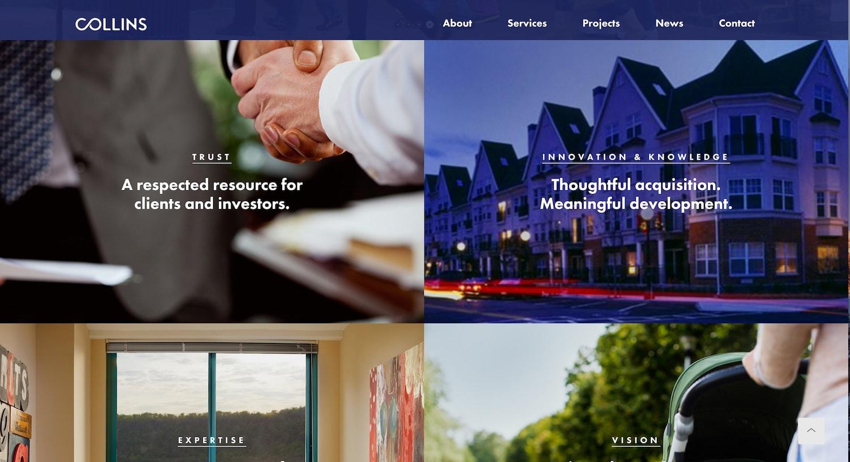 collins website - best property management website designs