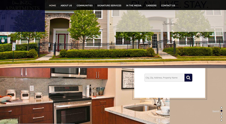 van metre apartments - best property management website designs