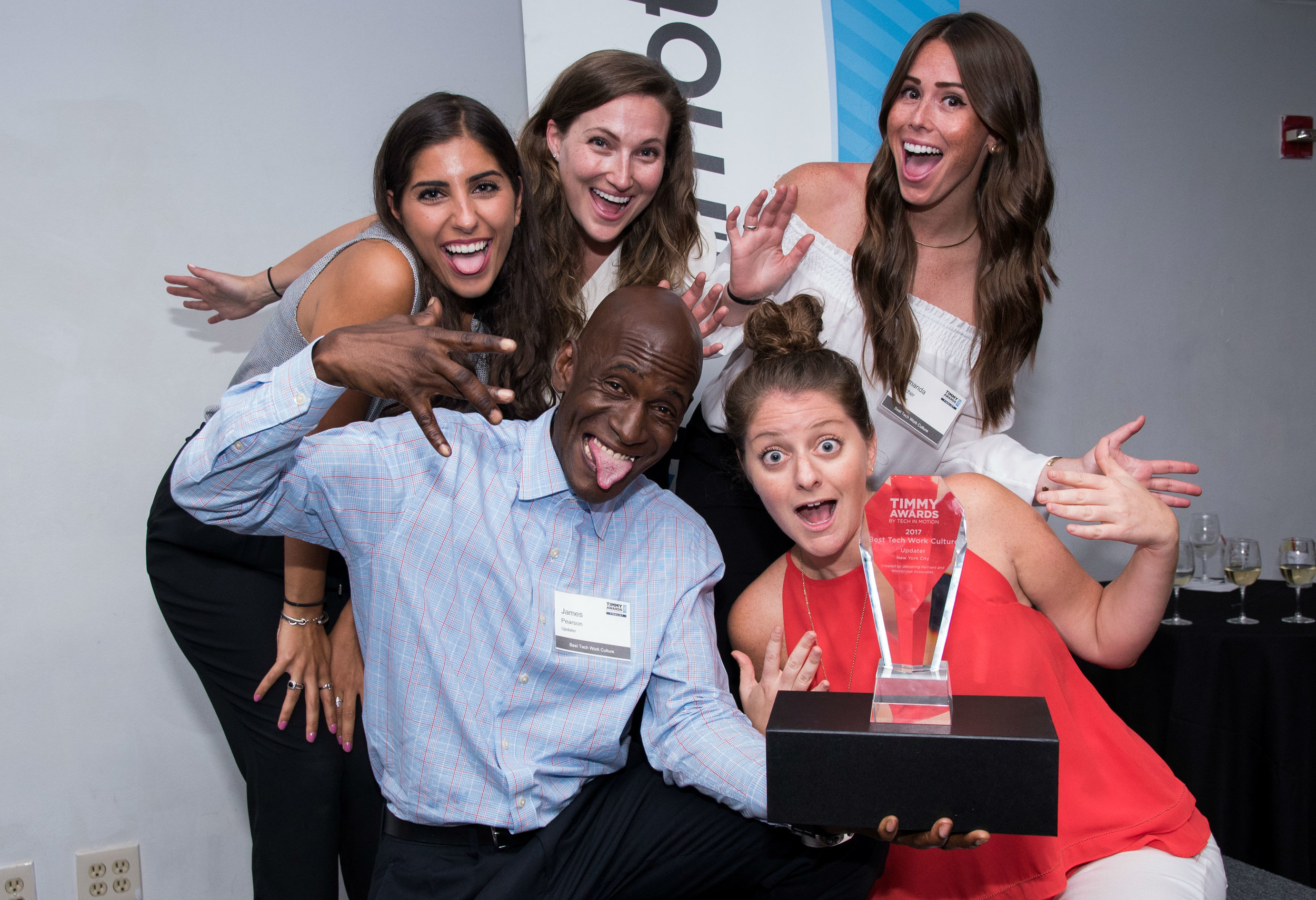 Updater's marketing team having a blast at the Timmy Awards.