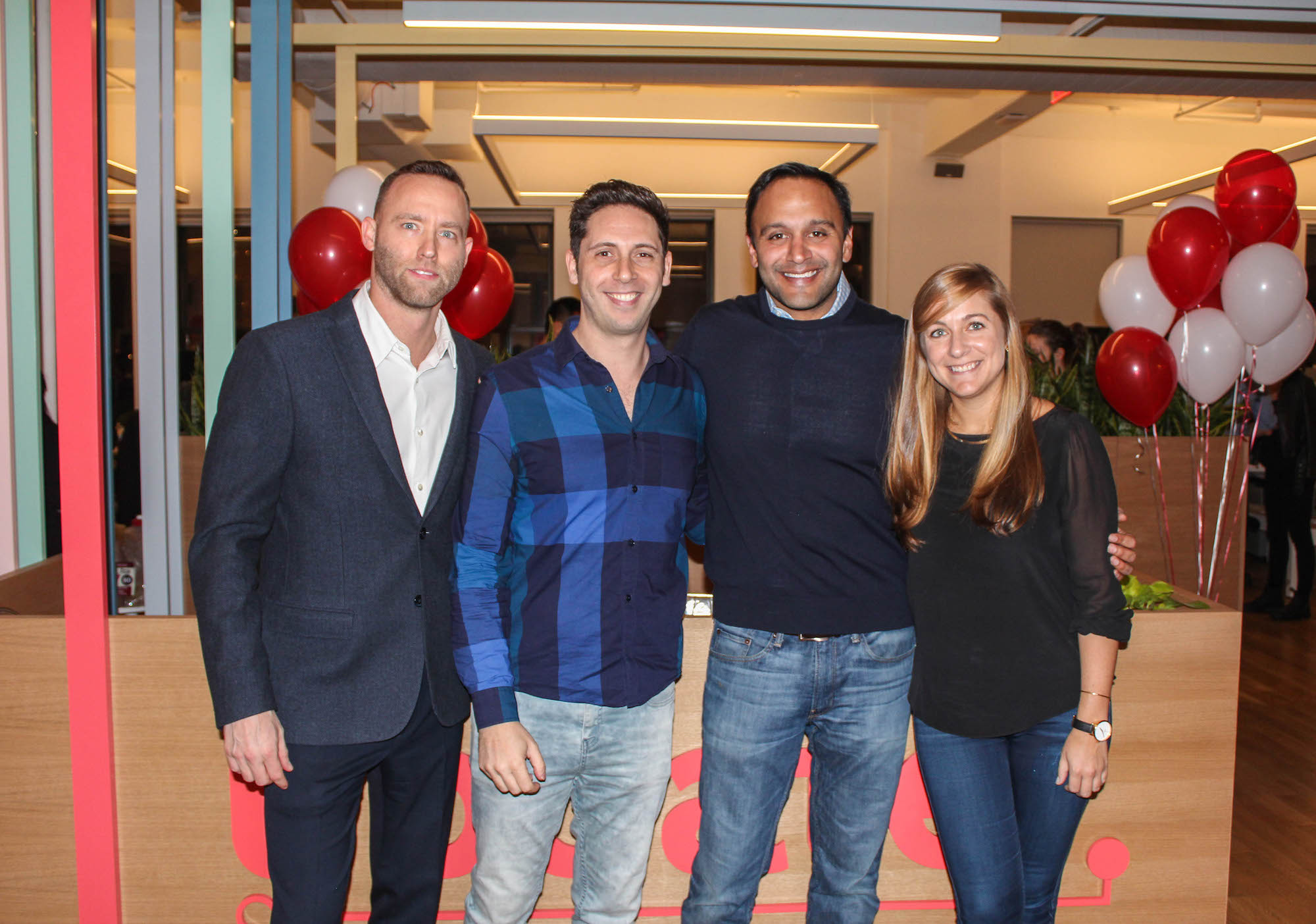 Ryan Hubbard, David Greenberg, Raj Doshi, and Lindsey Dole at the opening of Updater's Union Square office in 2017.