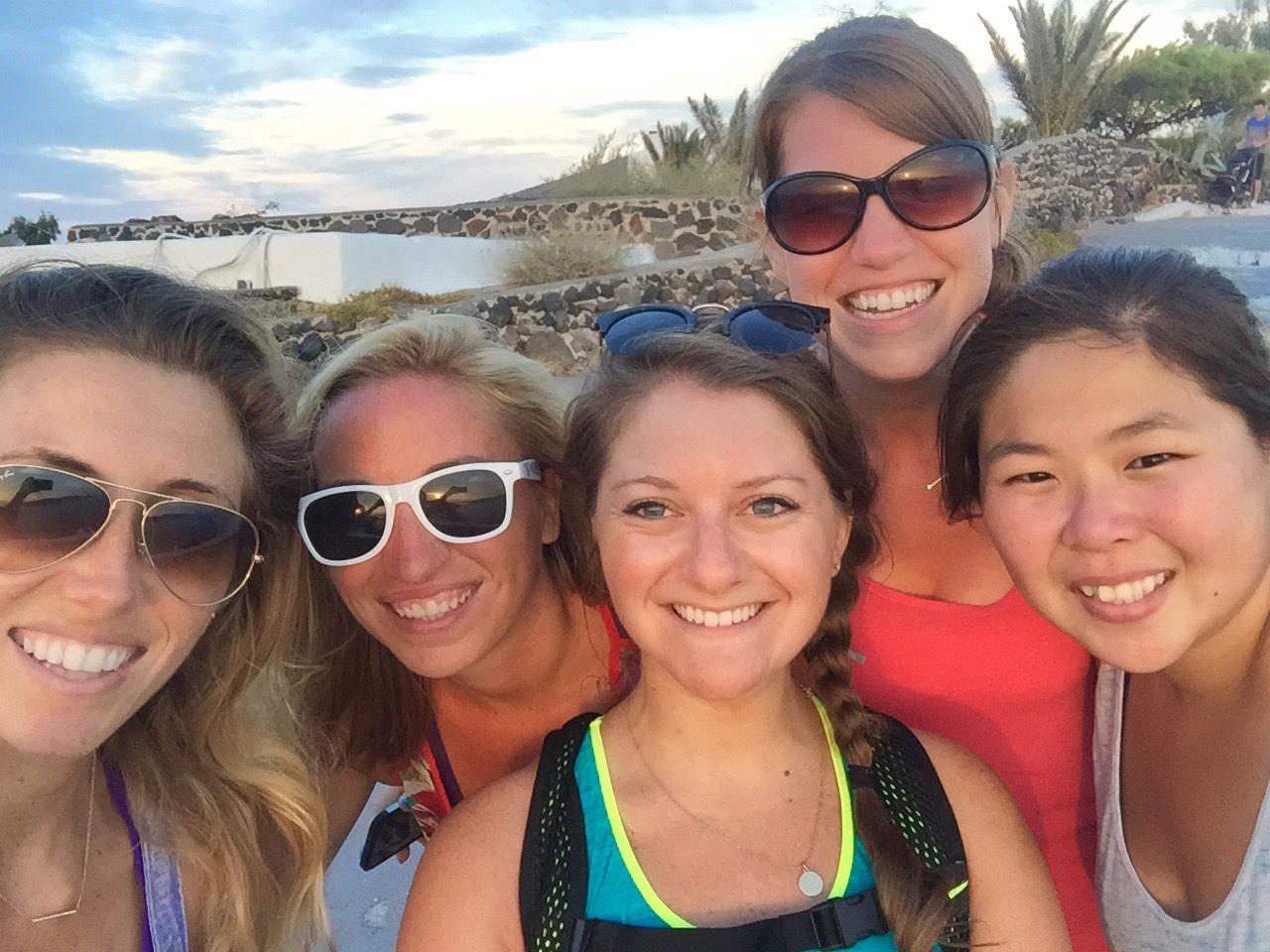 Jenna and friends hiking in Santorini, Greece