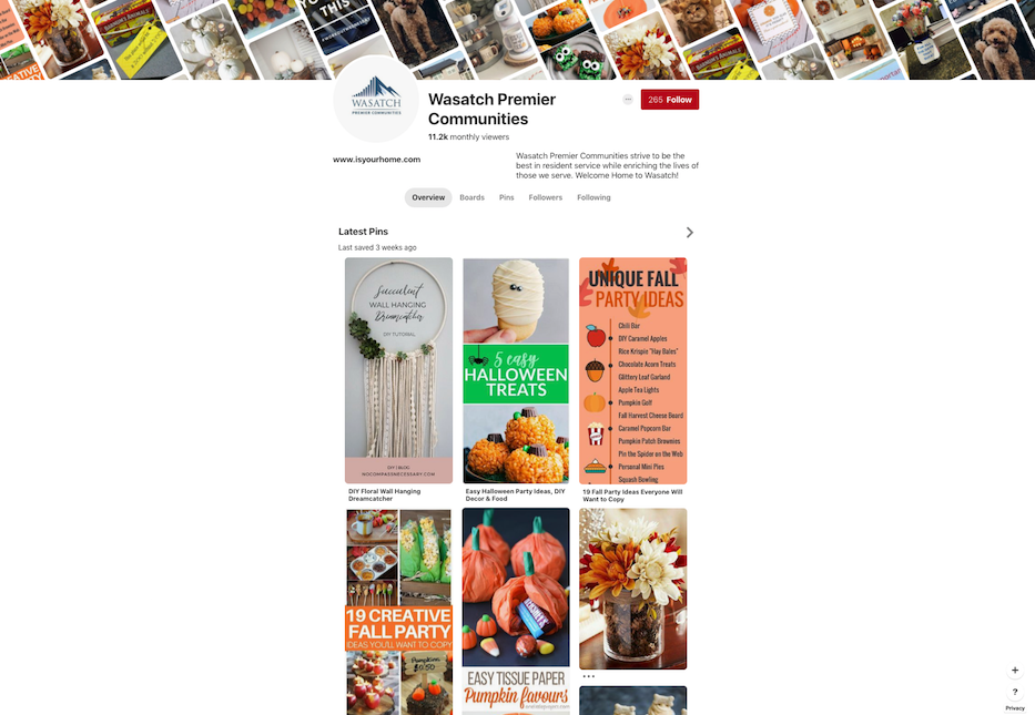 Property management company  Wasatch Property Management's Pinterest account