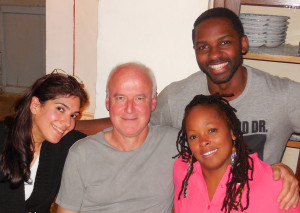 Dr. Howard Caygill with Students Lorena, Michelle and Whitney