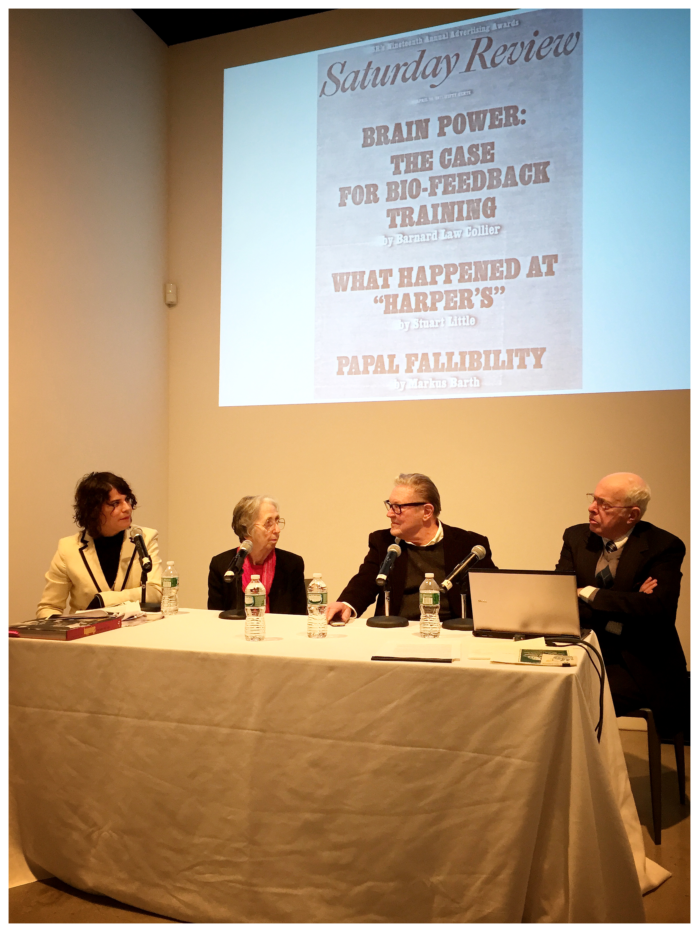 From left to right: Taliesin Thomas, Julie Martin, Robert Whitman and Ted Coons, Pace Gallery, January 2015.