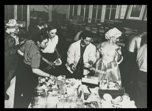 Black Mountain College, drama production, The Physician in Spite of Himself (Molière). Third from left: Betty Kelley, beside her, John Stix, behind her, Mendez Marks, 1941. Courtesy of Western Regional Archives, States Archives of North Carolina and E-Flux