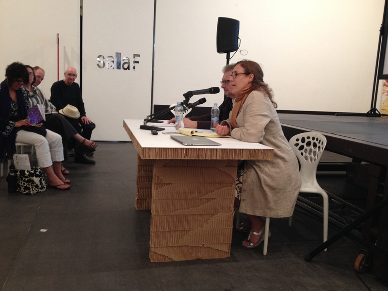 John Rajchman and Giovanna Borradori speaking at the Biennale Sessions, Venice, Spring 2015