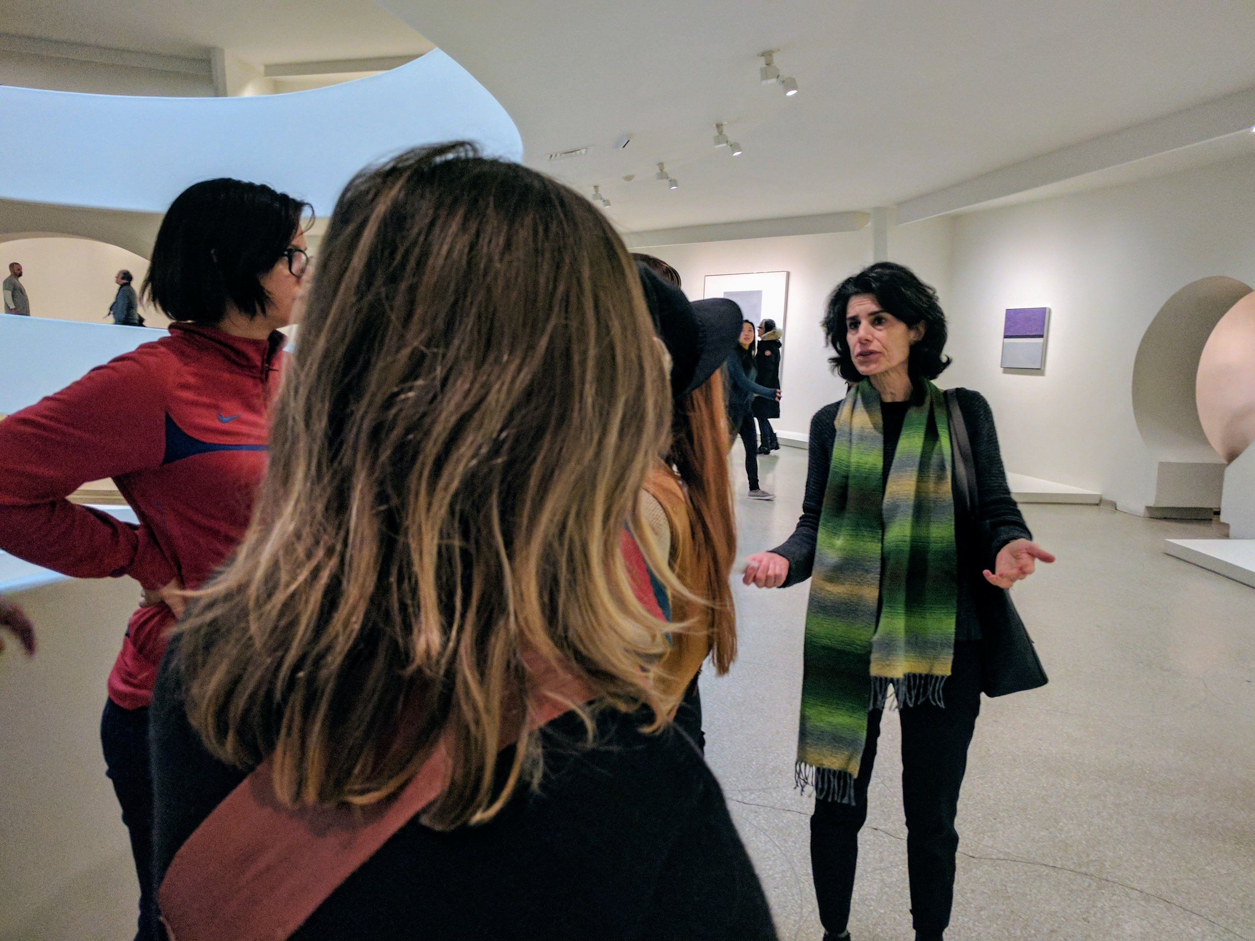 Nancy Princenthal speaking with IDSVA Students, Guggenheim 2017. Photo by Jonathan Morgan