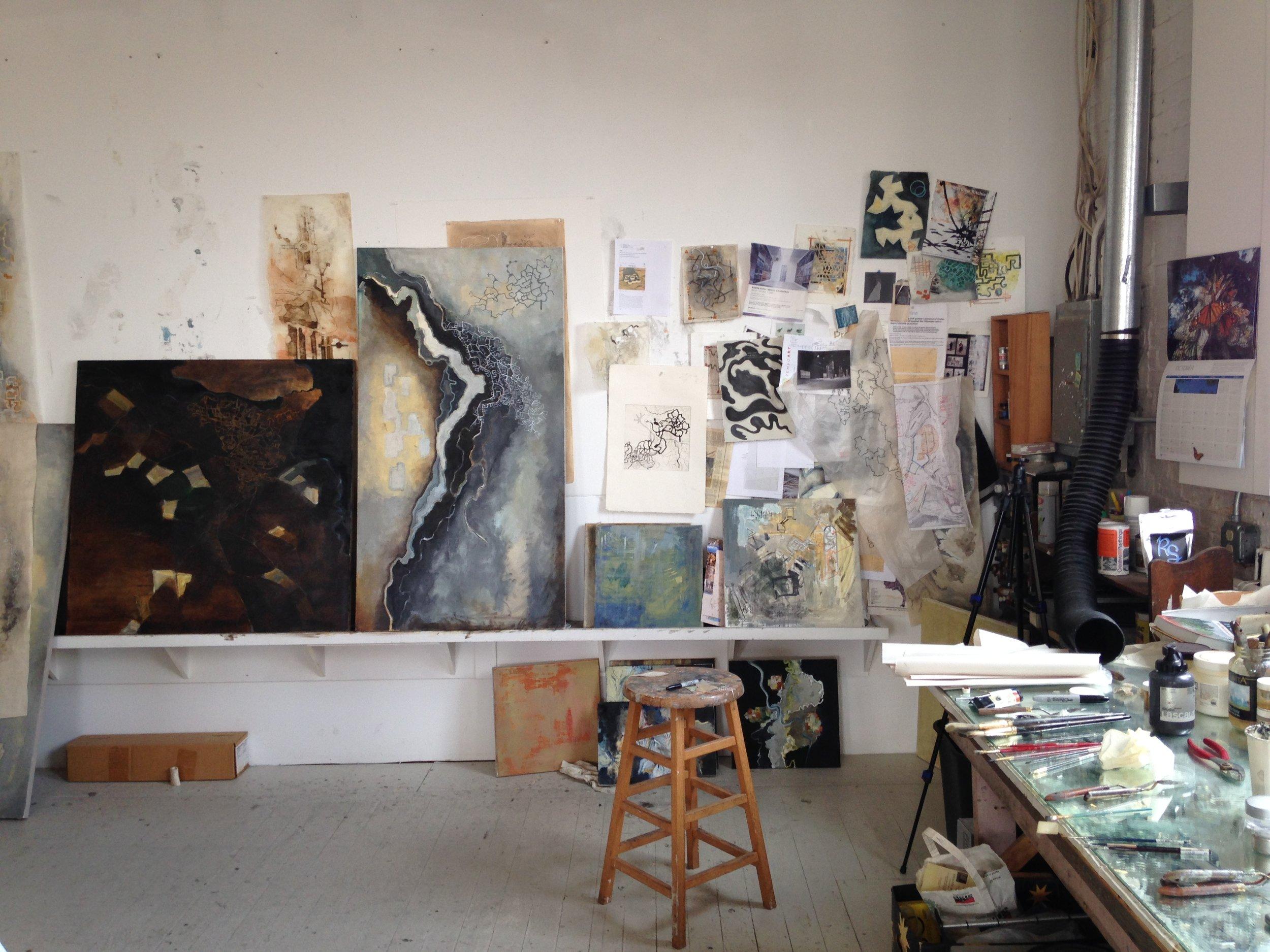 Works in progress at Alison Hildreth's studio in Portland. Photo by Rachael M Rollson