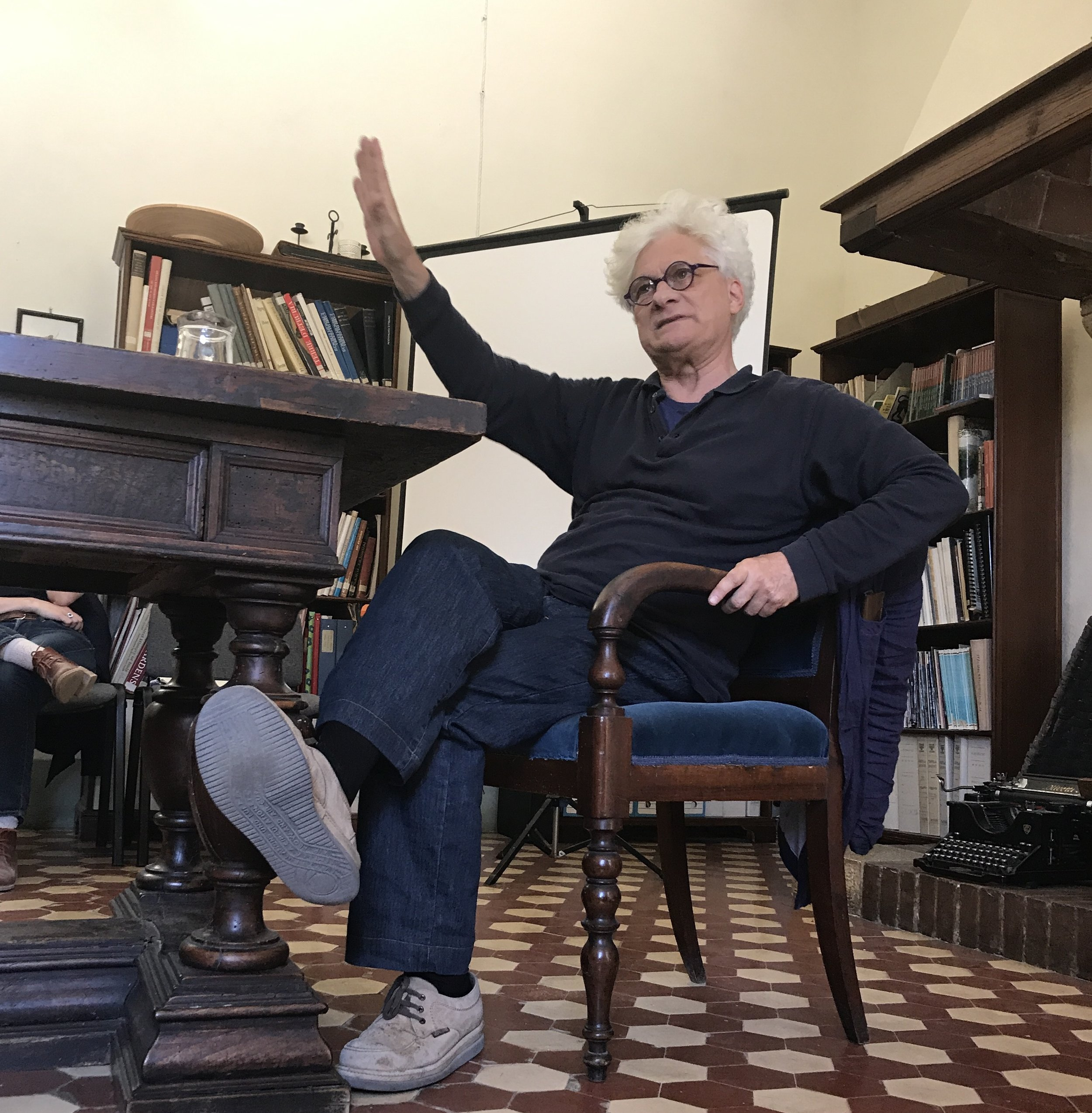 Franco 'Bifo' Berardi lecturing at Spannocchia, 2017  Photo Credit: Natalya Mayrena