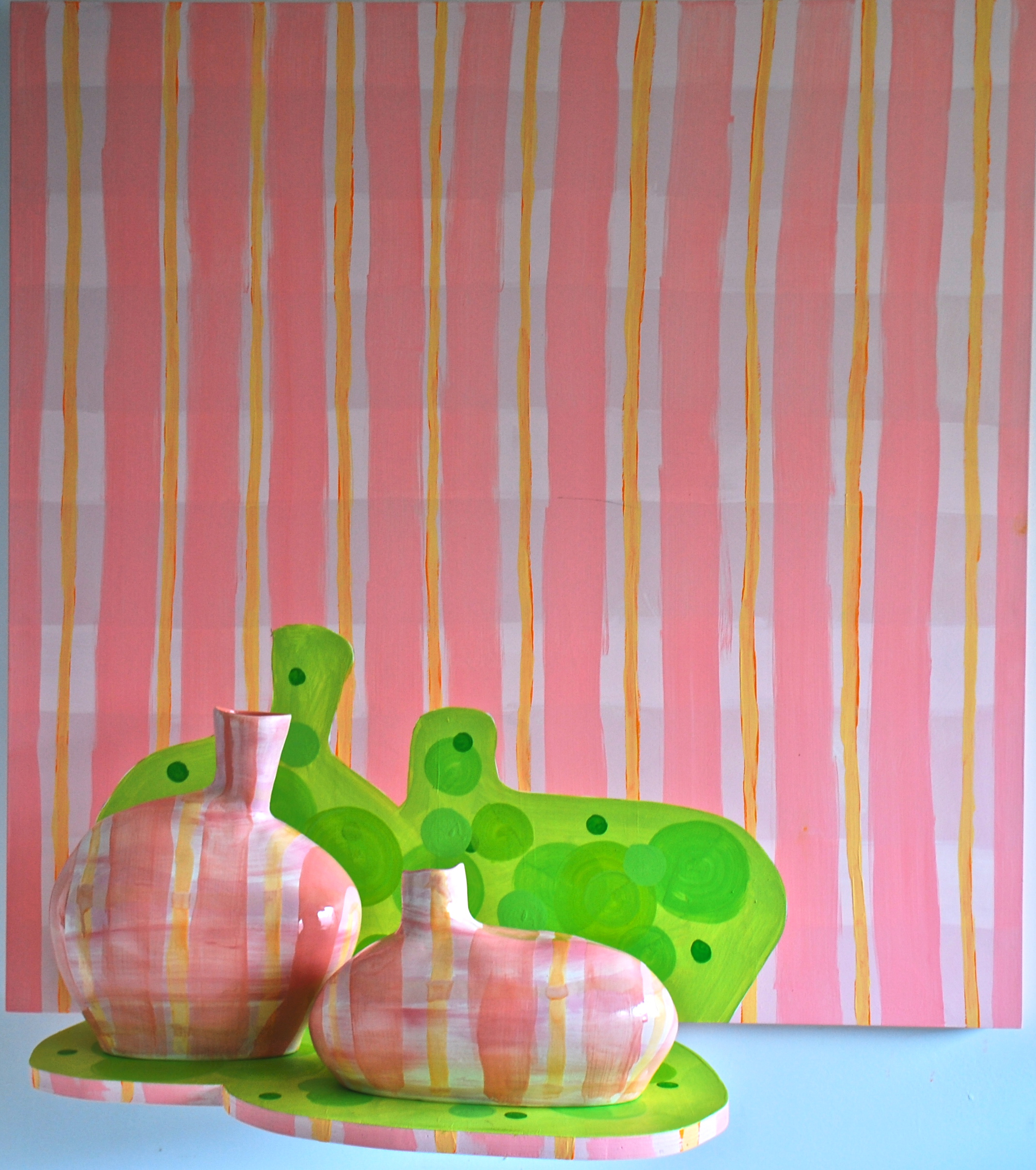 Pink Plaid Ovoids on Green Dot Silhouette  by Mary Anne Davis, 2010, Acrylic, ceramic, wooden panel