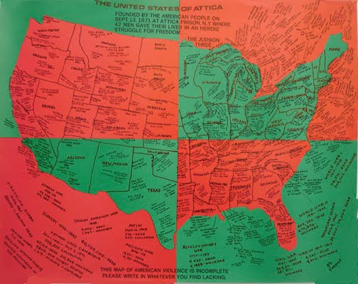Faith Ringgold,  United States of Attica , offset lithograph on paper. Image Credit:http://billops-hatch.library.emory.edu/camille-billops-activist.html