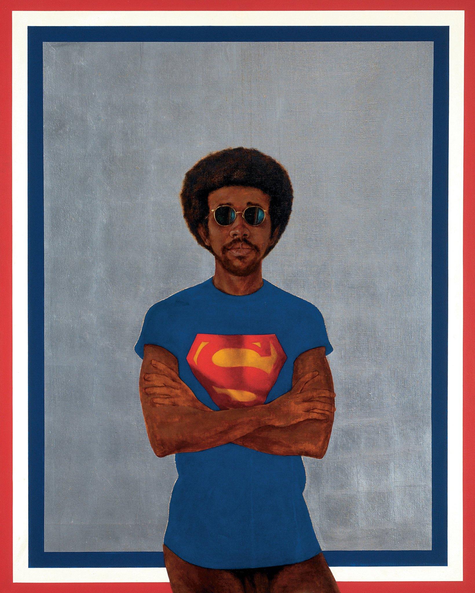 Barkley L. Hendrick's Icon for  My Man Superman (Superman Never Saved Any Black People - Bobby Seale ) Image Credit:Jack Shainman Gallery, NY.