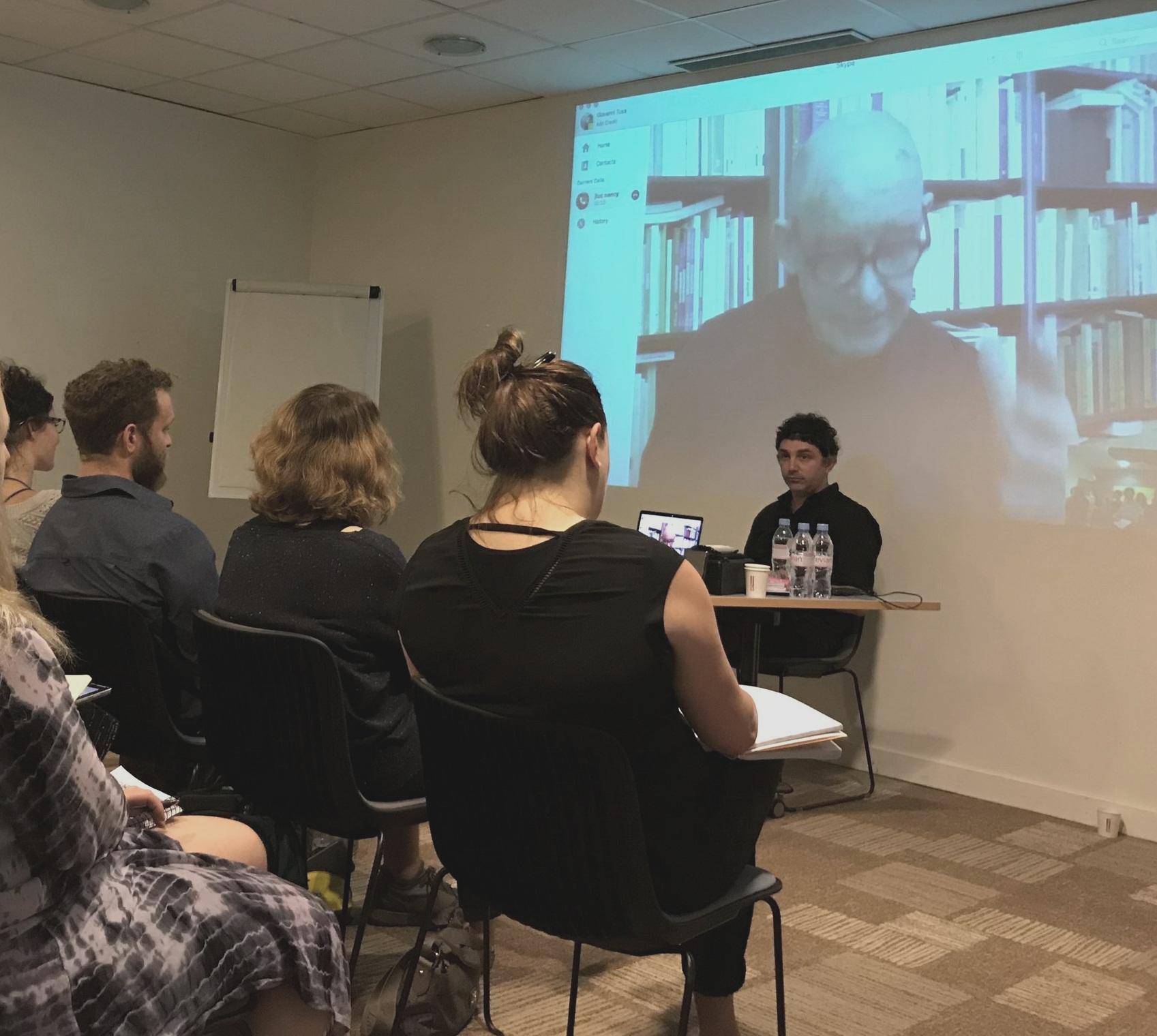 Visiting Faculty Dr. Jean-Luc Nancy (via Skype) and Dr. Giovanni Tusa, Paris 2018. Photo by Molly Davis
