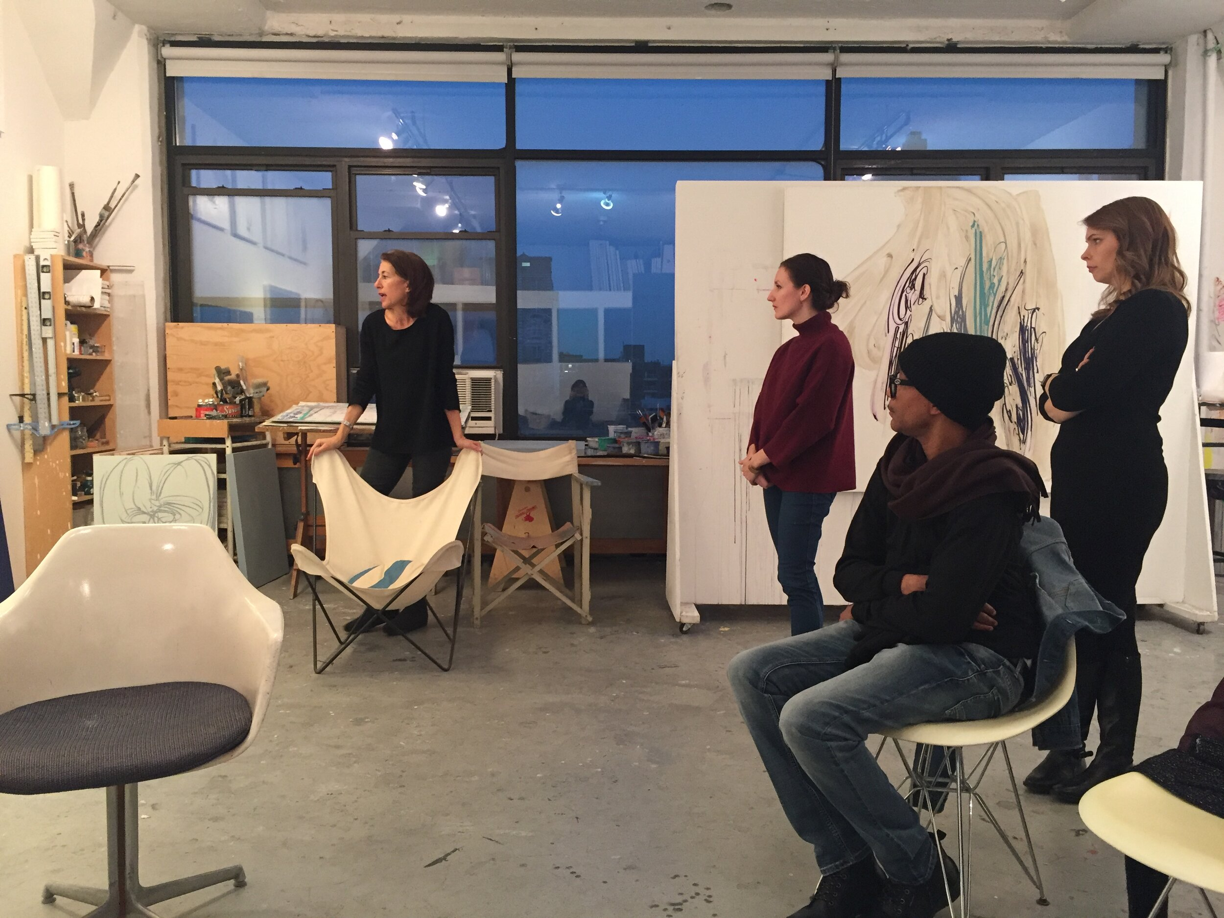 Students and artist Jill Moser in her studio in Long Island City, NY. January 2019