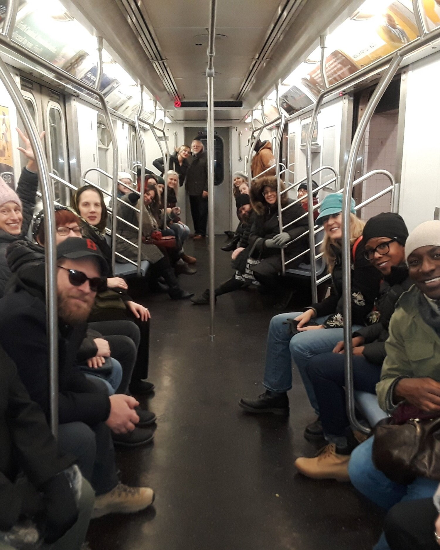 Students and faculty on their way to the Brooklyn Museum, New York. January 2019