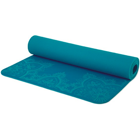PRANA HENNA E.C.O YOGA MAT (Capri Blue)  PVC free, chlorine free, and latex free, feel good about dripping your hard-earned sweat on this mat.
