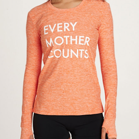 EVERY MOTHER COUNTS SWEATSHIRT  After a Hot Yoga session, cover up with a shirt that supports Every Mother Counts. Founded by Christy Turlington, the foundation supports maternal health and 40% of the proceeds go directly to EMC.