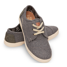 TOMS FOR MOVEMBER GREY WOOL WOMEN'S PASEOS   With every pair you purchase, TOMS will give a new pair of shoes to a child in need. And with this shoe, you are also showing your support for changing the face of men's health.