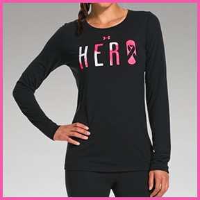 "UNDER ARMOUR POWER IN PINK ""HERO"" LONG SLEEVE  Semi fitted, this is a great warm up or cool down shirt."
