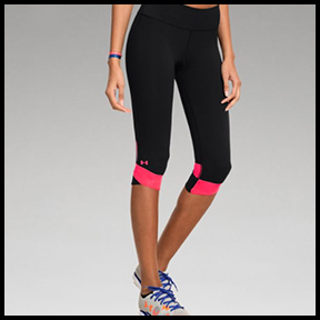 UNDER ARMOUR FLY-BY COMPRESSION CAPRI  Specifically-made for long distance running with compression fit, but the mesh leg panels help keep you cool, so you could certainly use these for hot yoga.