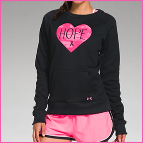 "UNDER ARMOUR POWER IN PINK ""HOPE"" CREWNECK  Hope celebrates the women who use sports, fitness, and an active lifestyle in their fight against breast cancer. UA Power in Pink is donating $10 million to Johns Hopkins Kimmel Cancer Center to benefit breast health, innovation, and education."