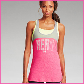 "UNDER ARMOUR POWER IN PINK ""HERO"" TRI-BLEND TANK"