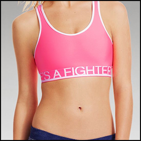 "UNDER ARMOUR "" SHE'S A FIGHTER"" ALPHA SPORTS BRA  Message on a classic sports bra – great all around mid impact fitness."