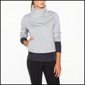 LUCY CARDIO SCULPT PULLOVER  The technical fleece is warm and cozy – and we love the thick collar for after yoga, it feels like a big warm hug.